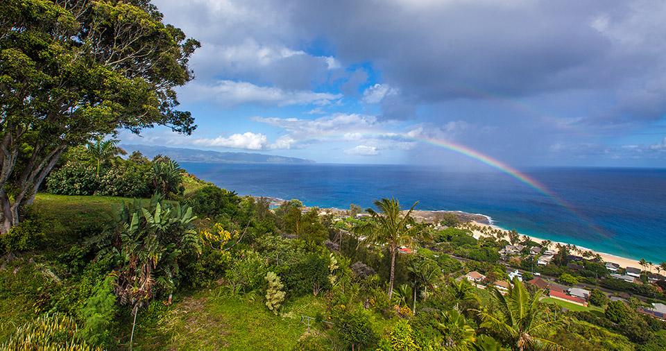 Rainbow over Haleiwa Town.