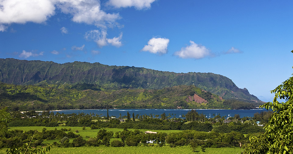 The mountains and ocean of Hanalei, Hawaii.