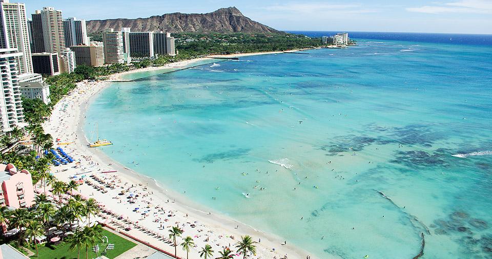 Hotels and beach goers of Waikiki.