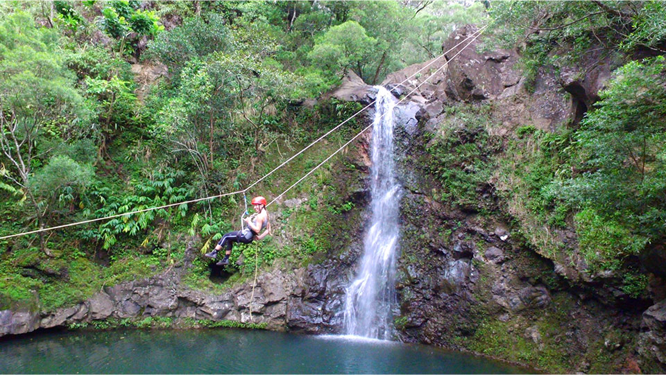 zipline and cliff jumping in freshwater pools