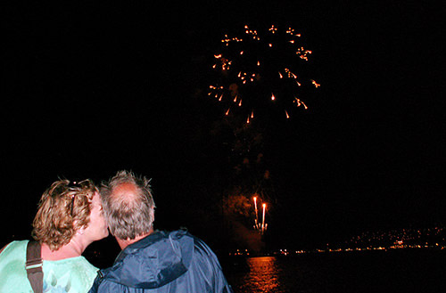 Couple on Pride of Maui watching Fireworks