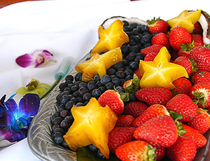 Fruit plate with Starfruit, Blueberries, and Strawberries.