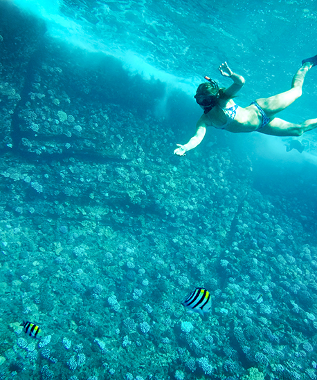 Snorkeling over Molokini Coral Reef