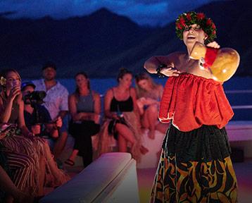 Hawaiian Polynesian Dance on Maui Susnet cruise